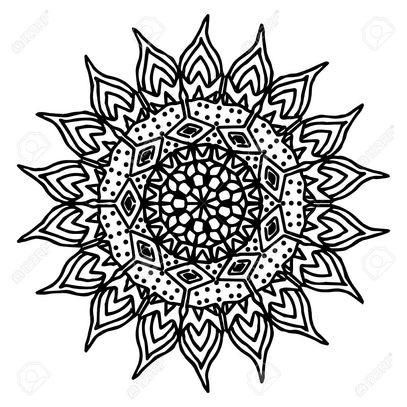 Sun Hand Drawing Doodling Mandala Coloring Page Isolated Royalty
