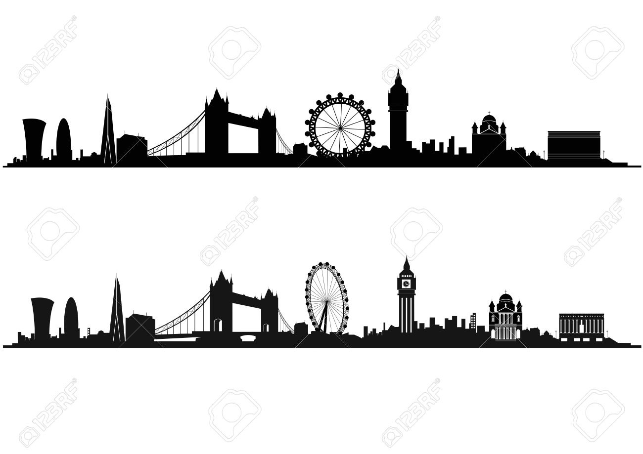 London Skyline Silhouette In Black And White Royalty Free Cliparts