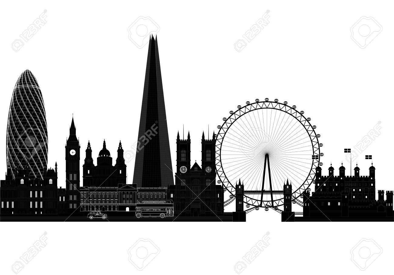 London City Skyline Silhouette, Vector Illustration  Isolated