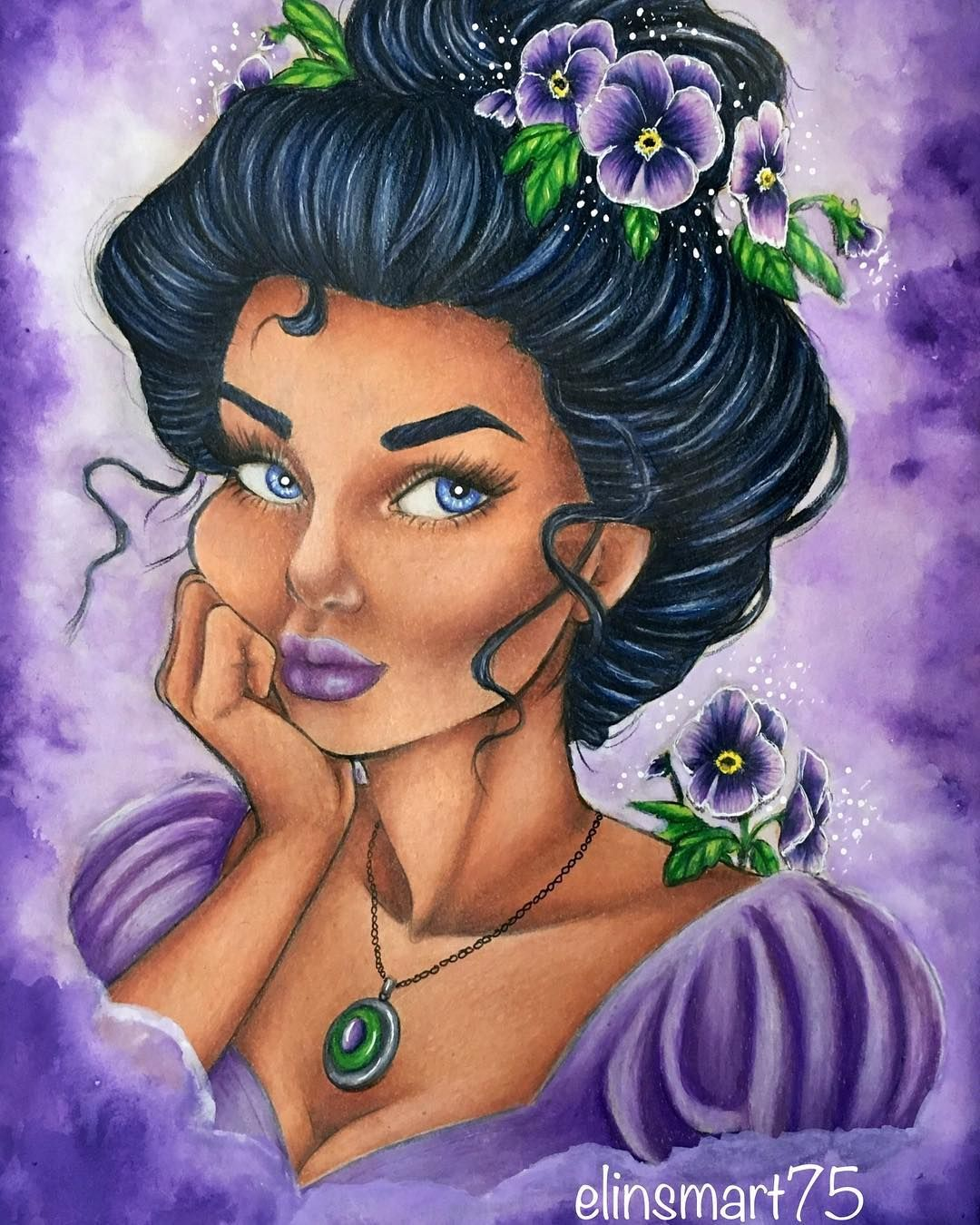 Pansy From Flower Girls Coloring Book By Lydia Fenwick  Colored