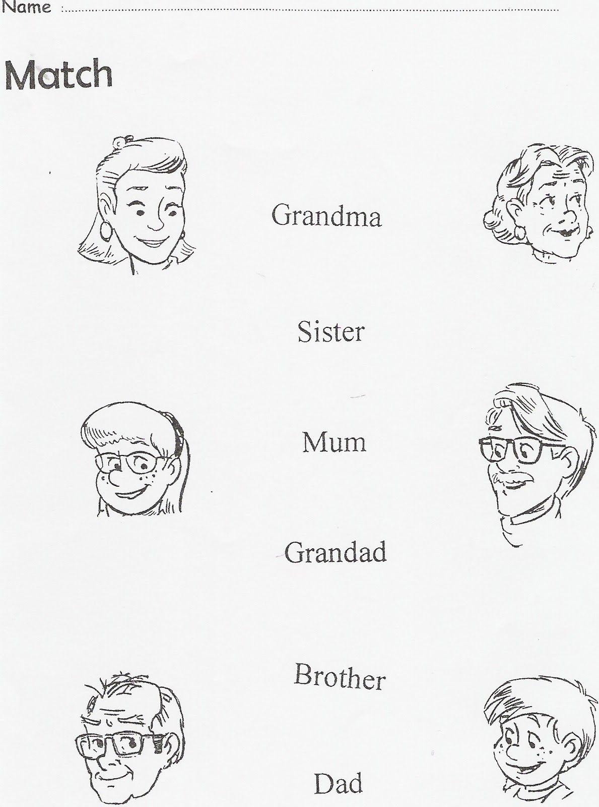 La Familia En Ingles Para Colorear