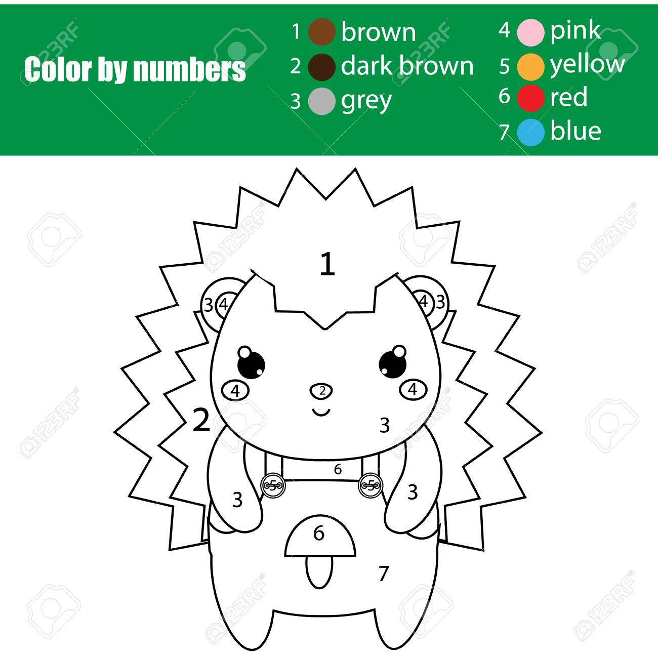 Children Educational Game  Coloring Page With Cute Hedgehog