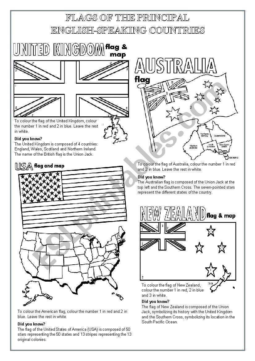 English Worksheets  English Speaking Countries Flags To Colour