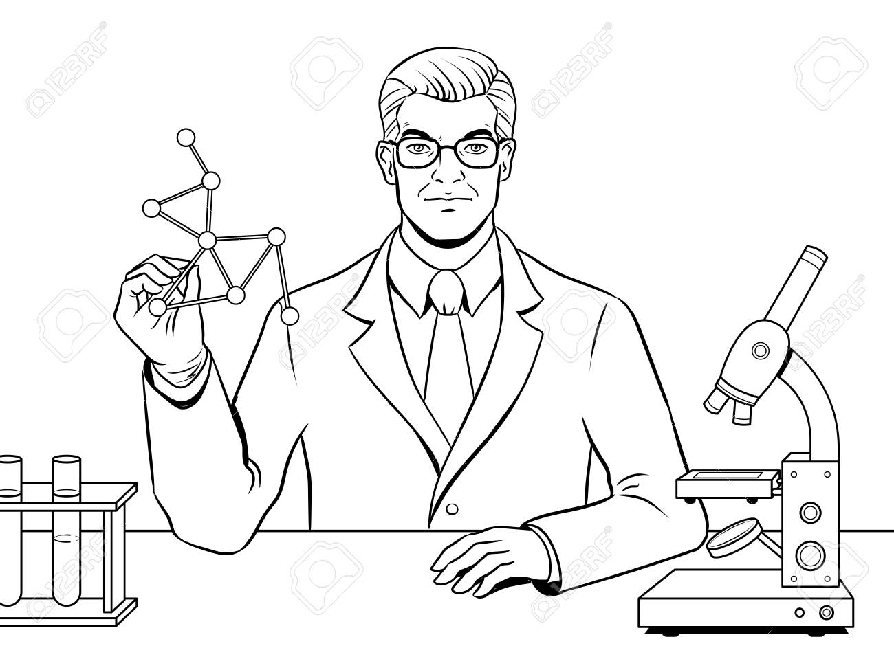 Medical Chemist Scientist Coloring Book Vector Royalty Free
