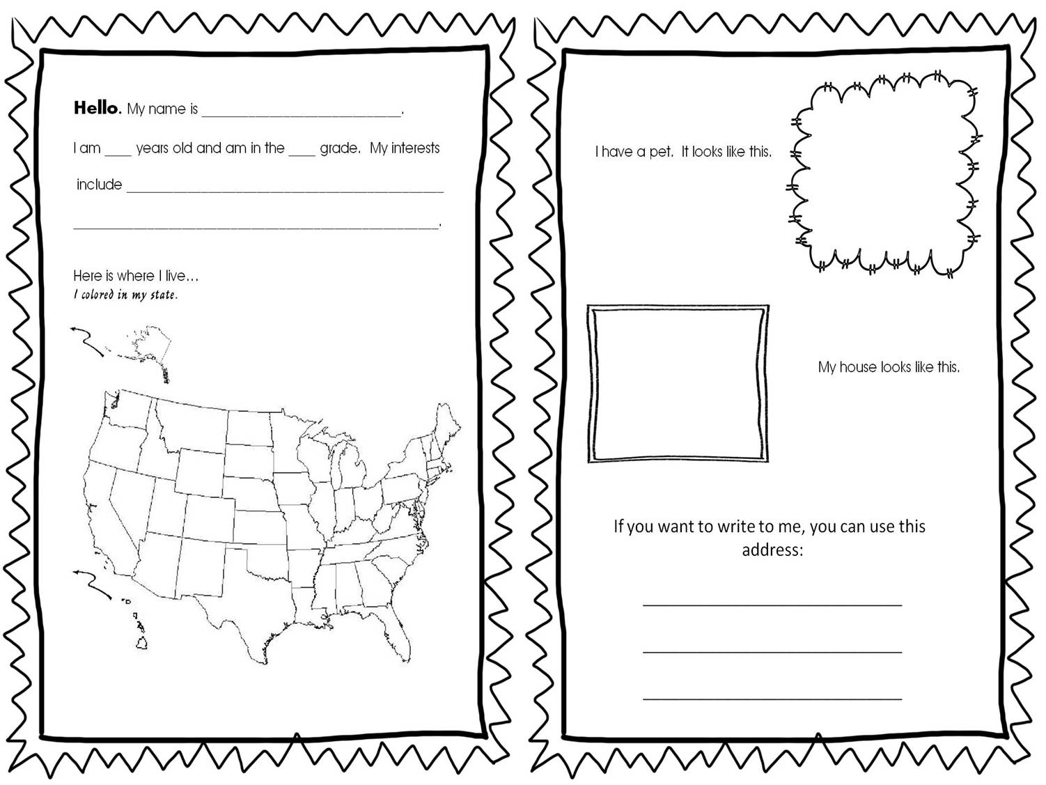 All About Me Coloring Page For Operation Christmas Child
