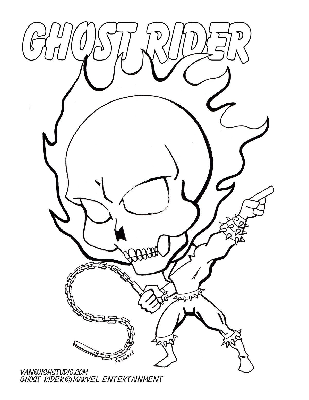 Free Coloring Page Of Chibi Ghostrider