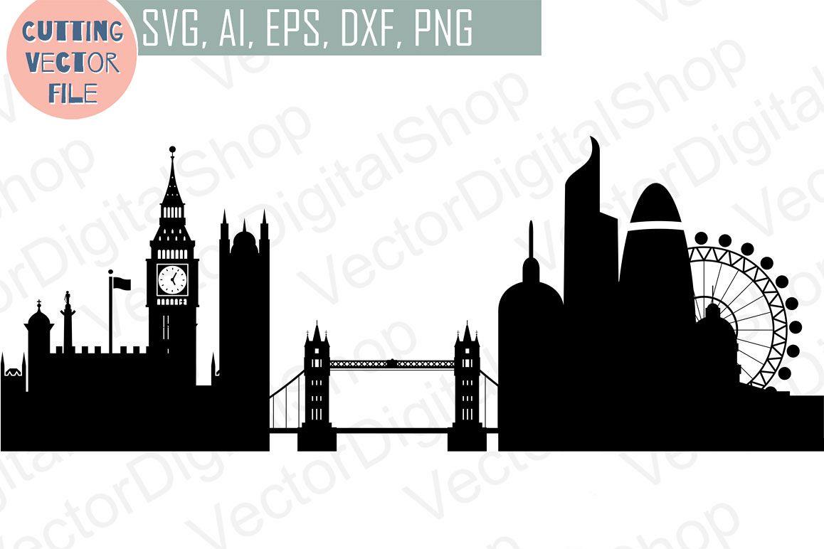London Skyline Vector, England City, Svg, Jpg, Png, Dwg, Cdr