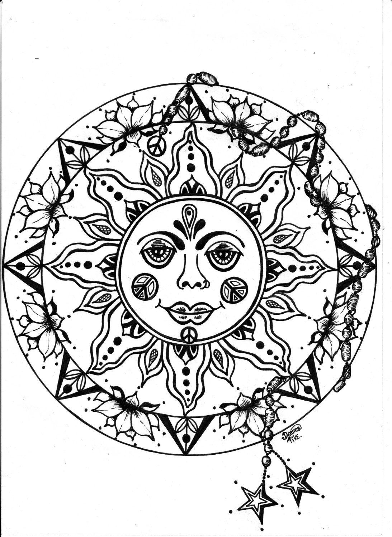 Instant Download  Peace Sun Mandala To Colour