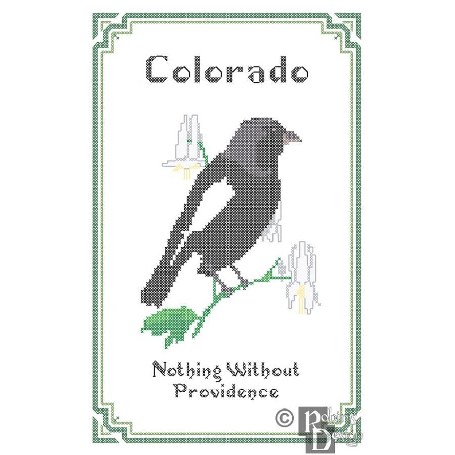 Colorado State Bird, Flower And Motto Cross Stitch Pattern Pdf