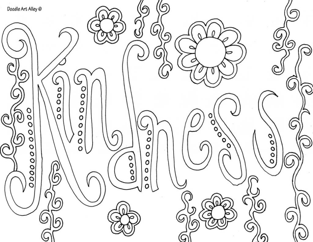 Coloring Page ~ Coloring Page Pages With Words Word Doodle Art