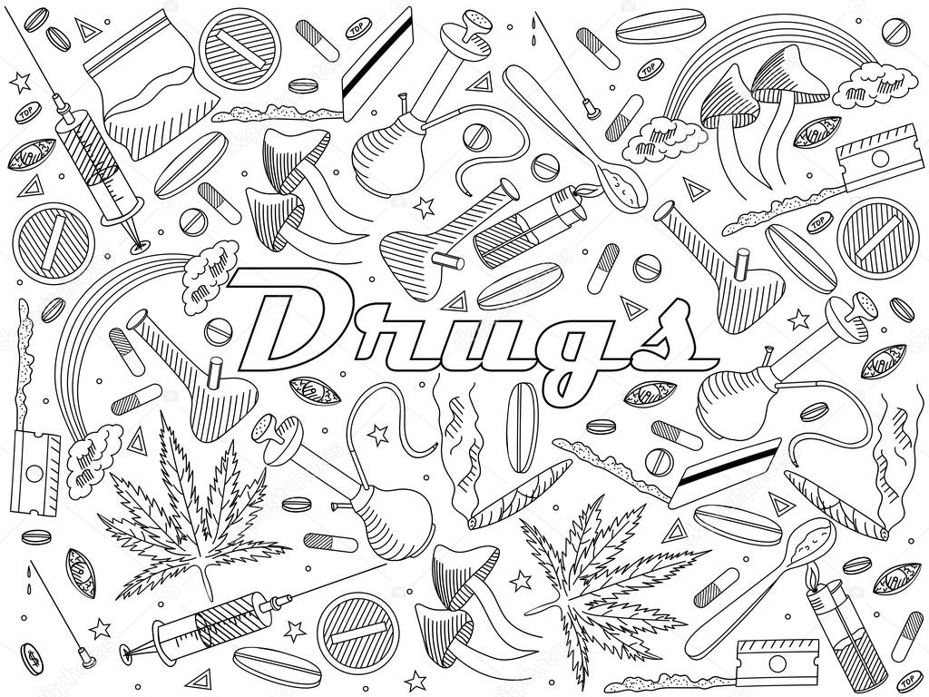 Drugs Coloring Book Vector Illustration — Stock Vector