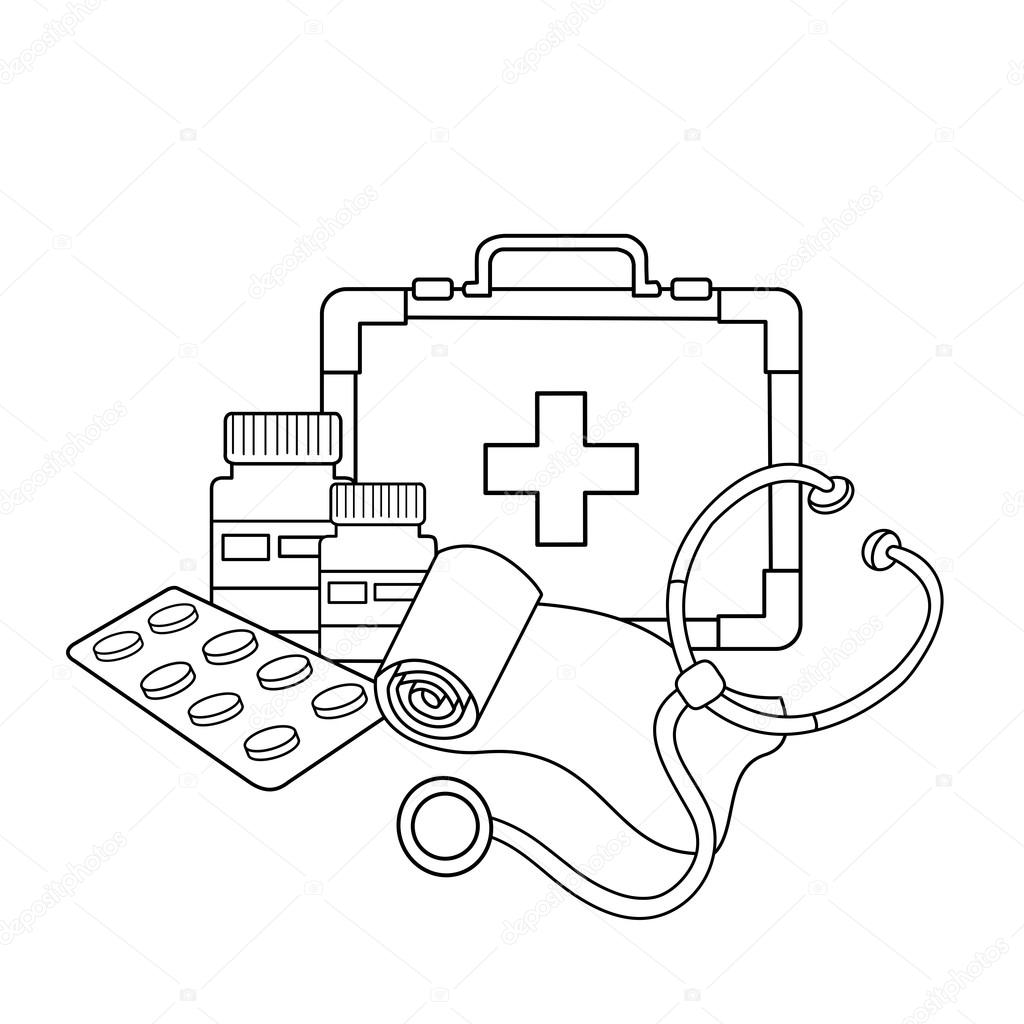 Coloring Page Outline Of Medical Instruments  Medical Logo — Stock