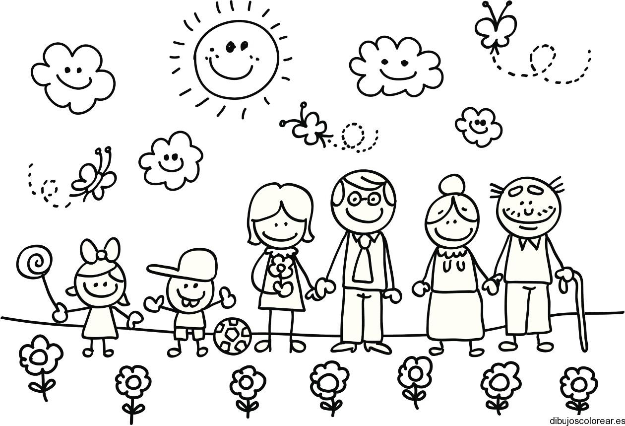 Dibujo De Una Familia De Paseo Veraniego