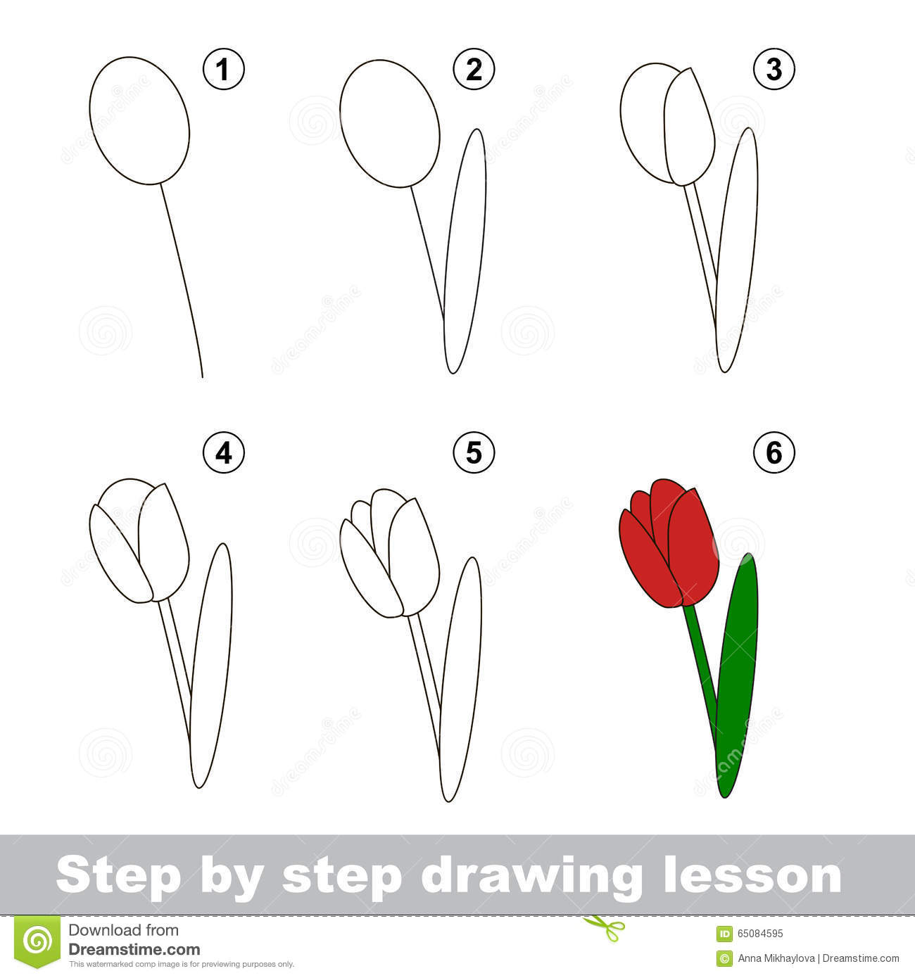 Drawing Tutorial  How To Draw A Tulip Stock Vector