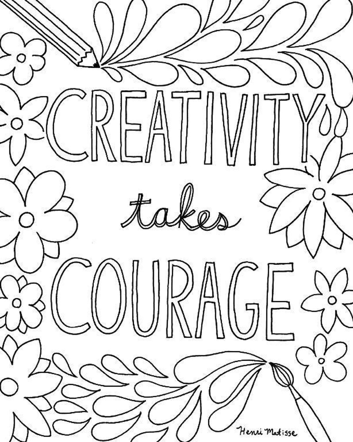 Creativity Takes Courage Coloring Page