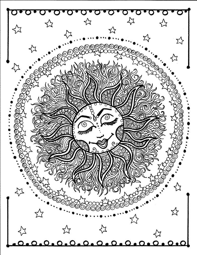 Sun Mandala Digital Coloring Page Instant