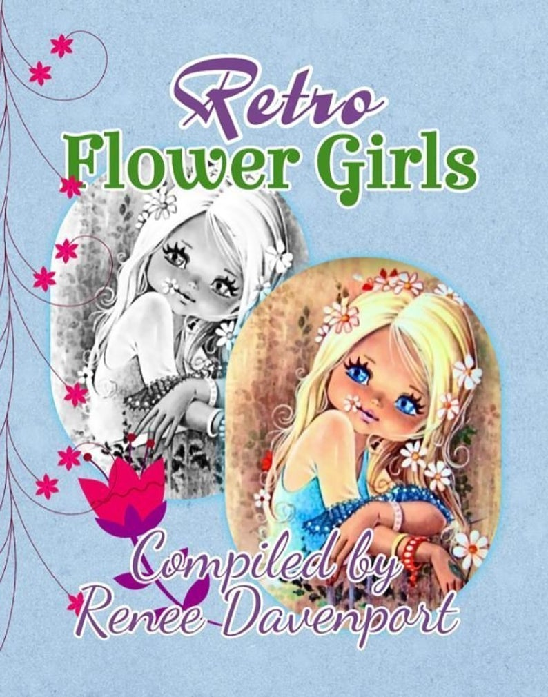 Grayscale Adult Coloring Book Retro Flower Girls Grayscale