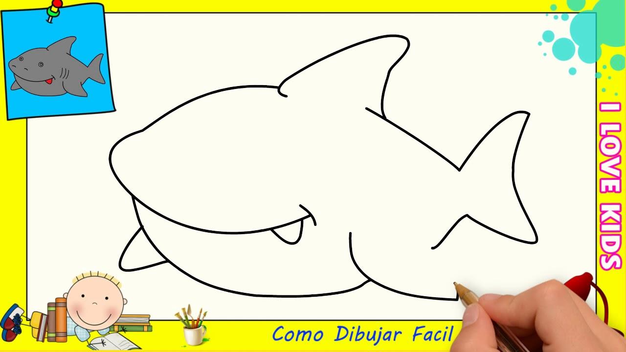 Dibujos De Tiburones Faciles Paso A Paso Para Niños