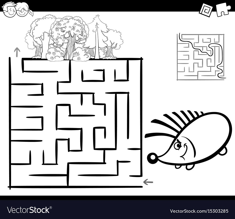 Maze With Hedgehog Coloring Page Royalty Free Vector Image