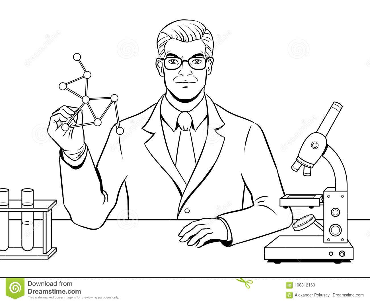 Medical Chemist Scientist Coloring Book Vector Stock Vector