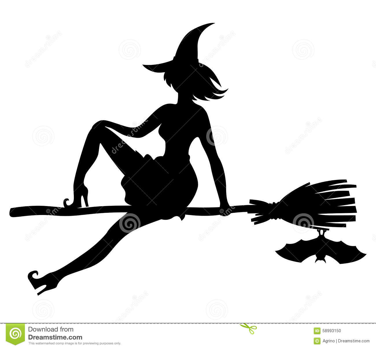 Silhouette Witch Flying On Broom And Bat Stock Vector