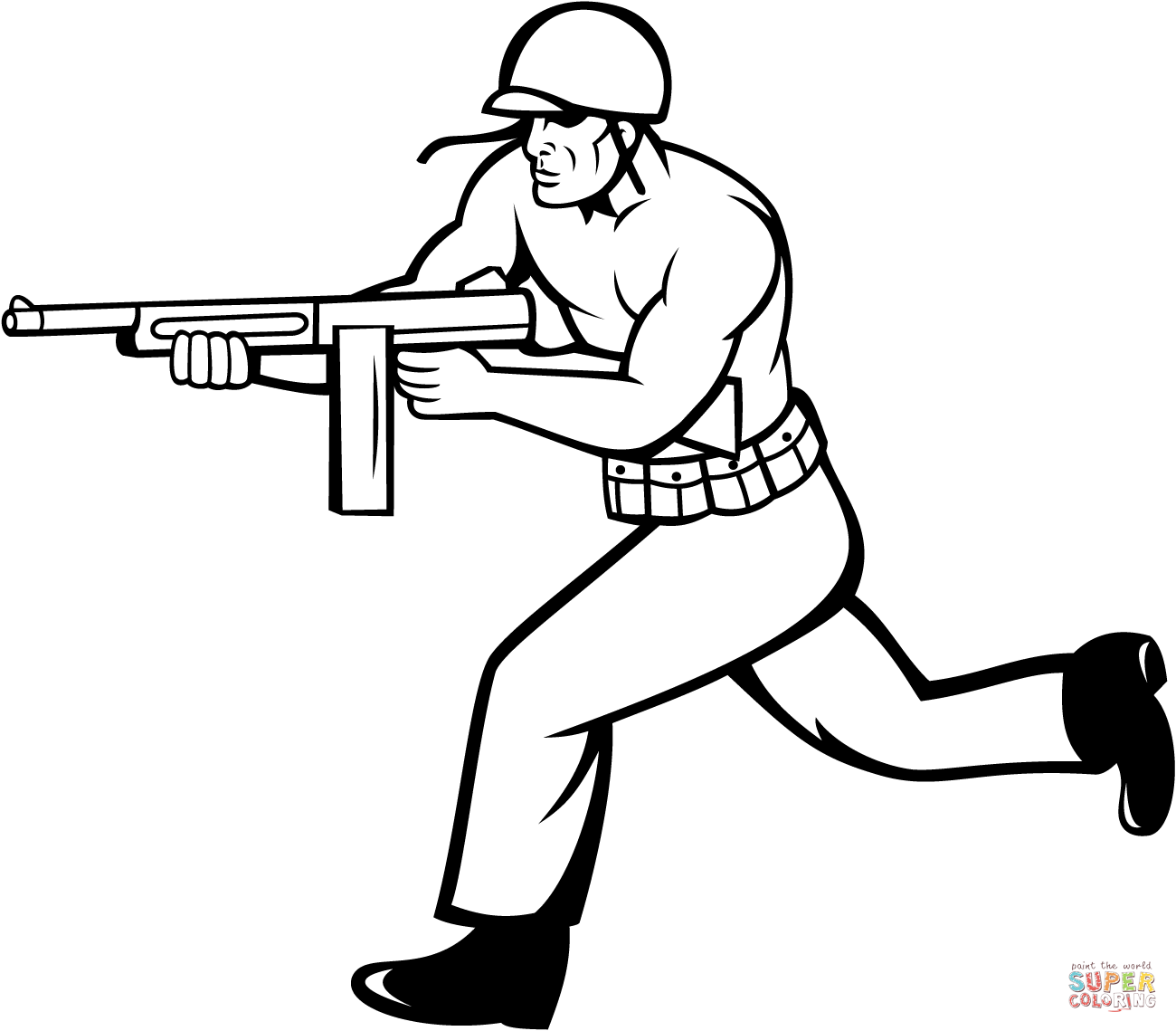 Soldier Running With Tommy Gun Coloring Page