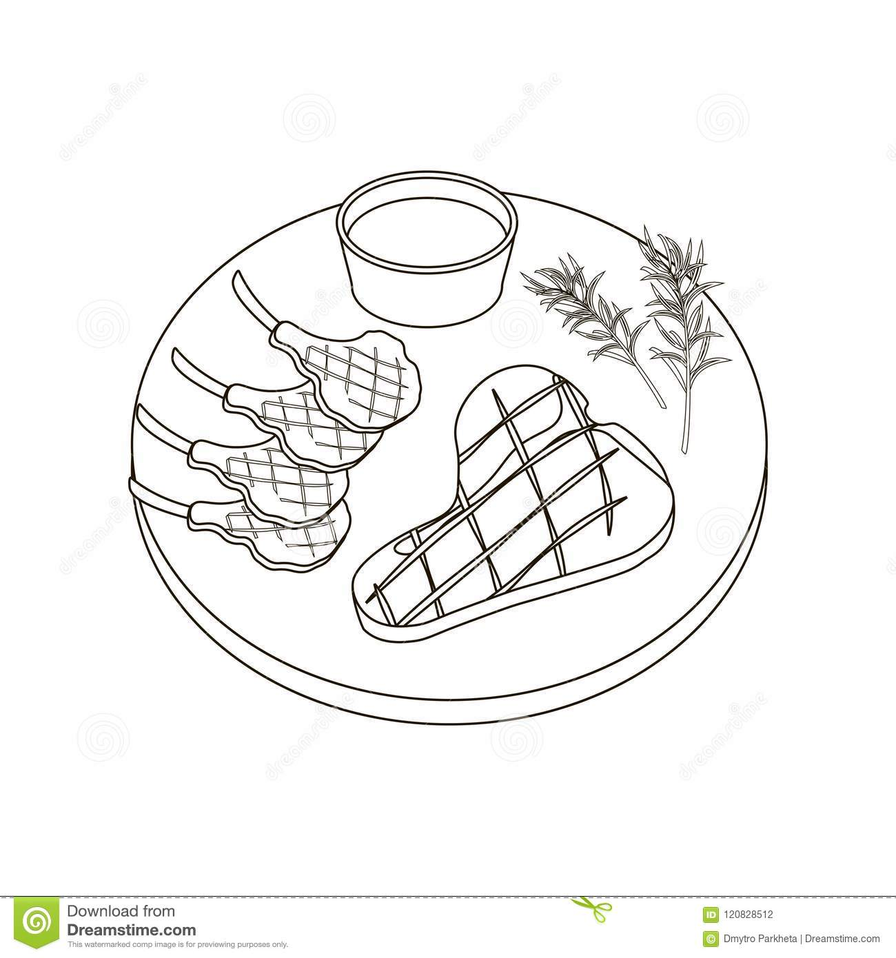 Steak Meat Coloring Pages Stock Vector  Illustration Of Cartoon