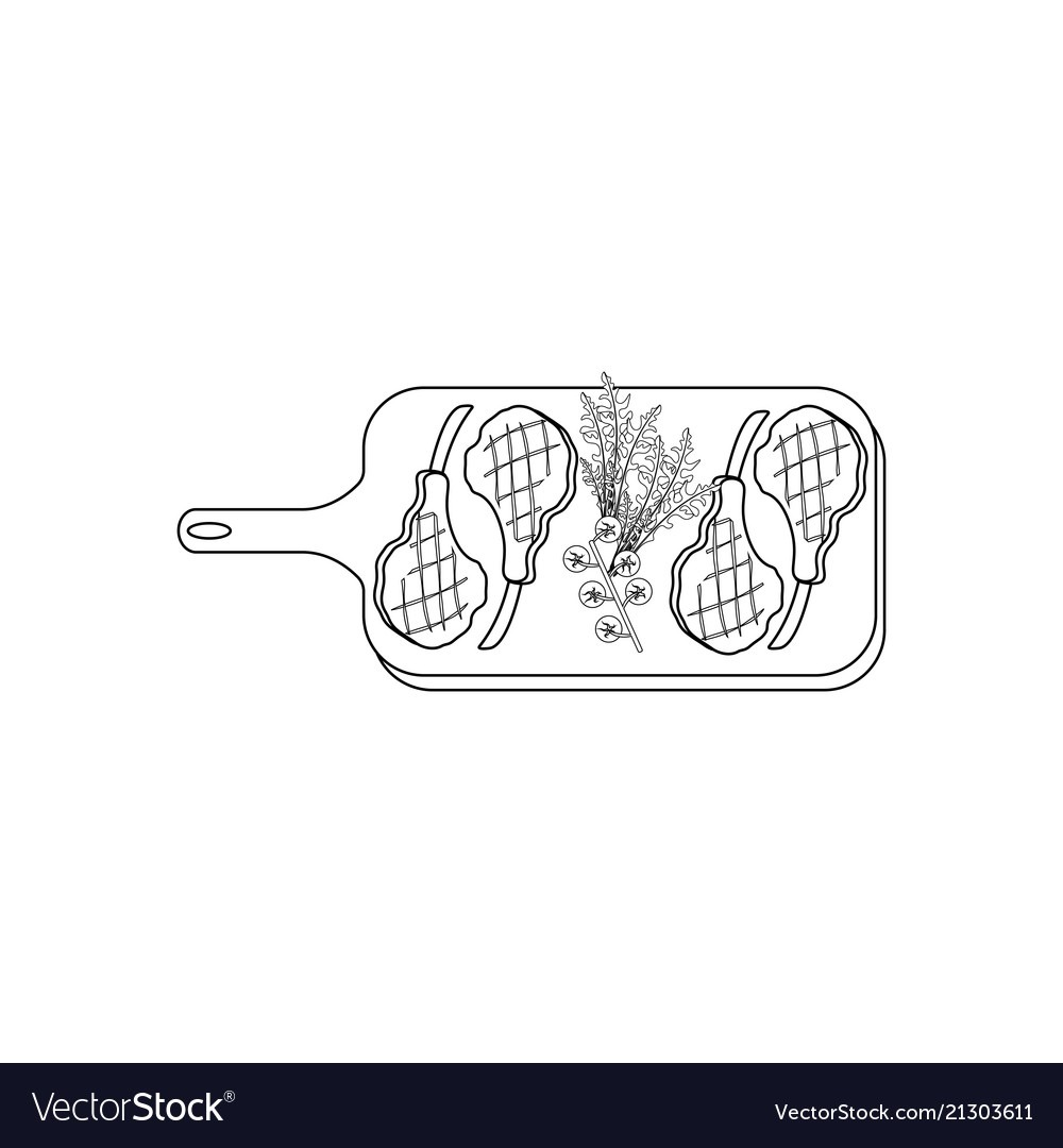 Steak Meat On Board Coloring Pages Royalty Free Vector Image