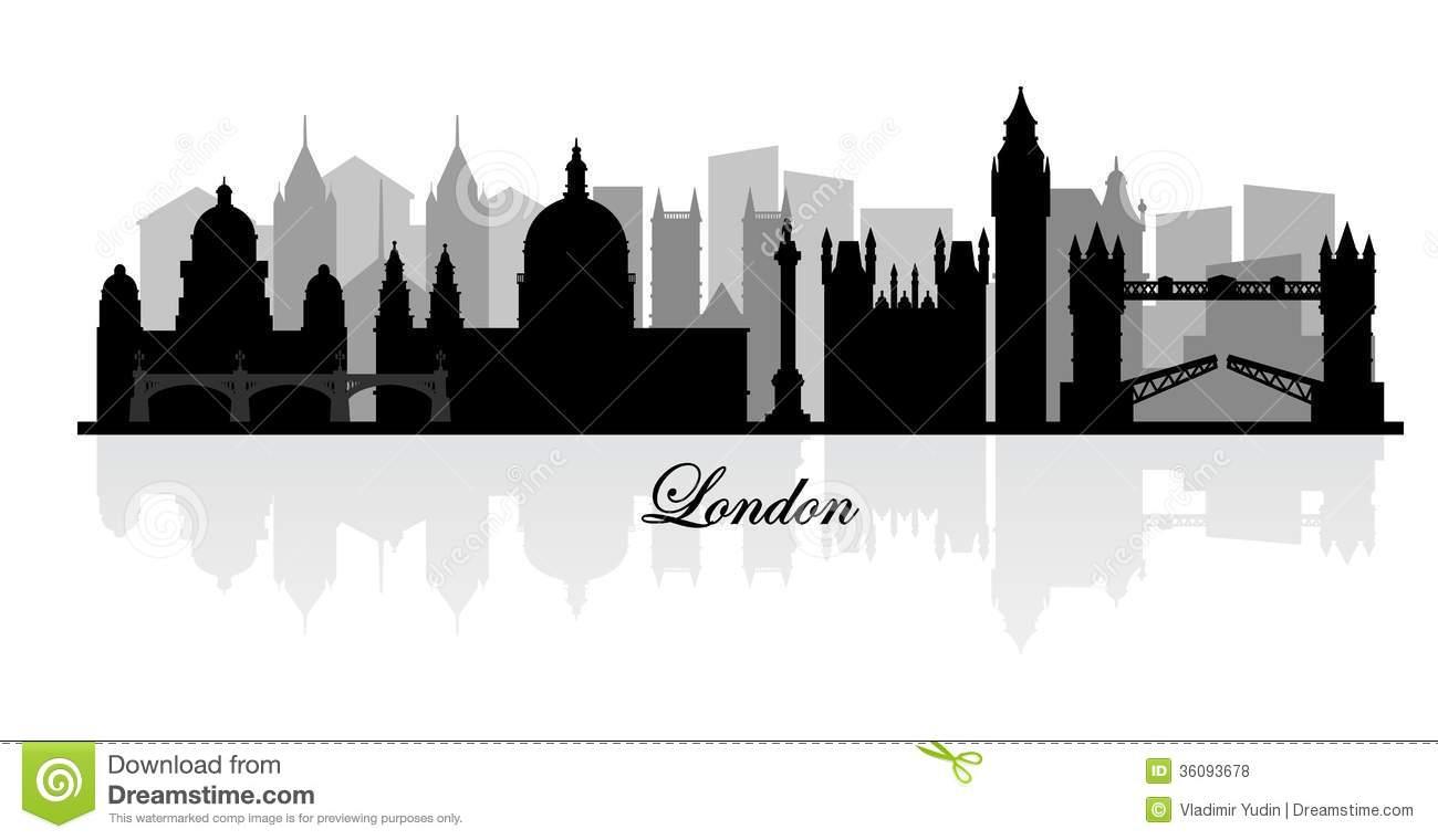Vector London Skyline Silhouette Stock Vector