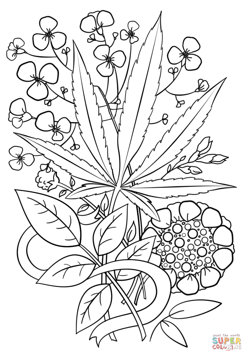 Vibrant Inspiration Weed Coloring Pages Trippy Page Free Printable