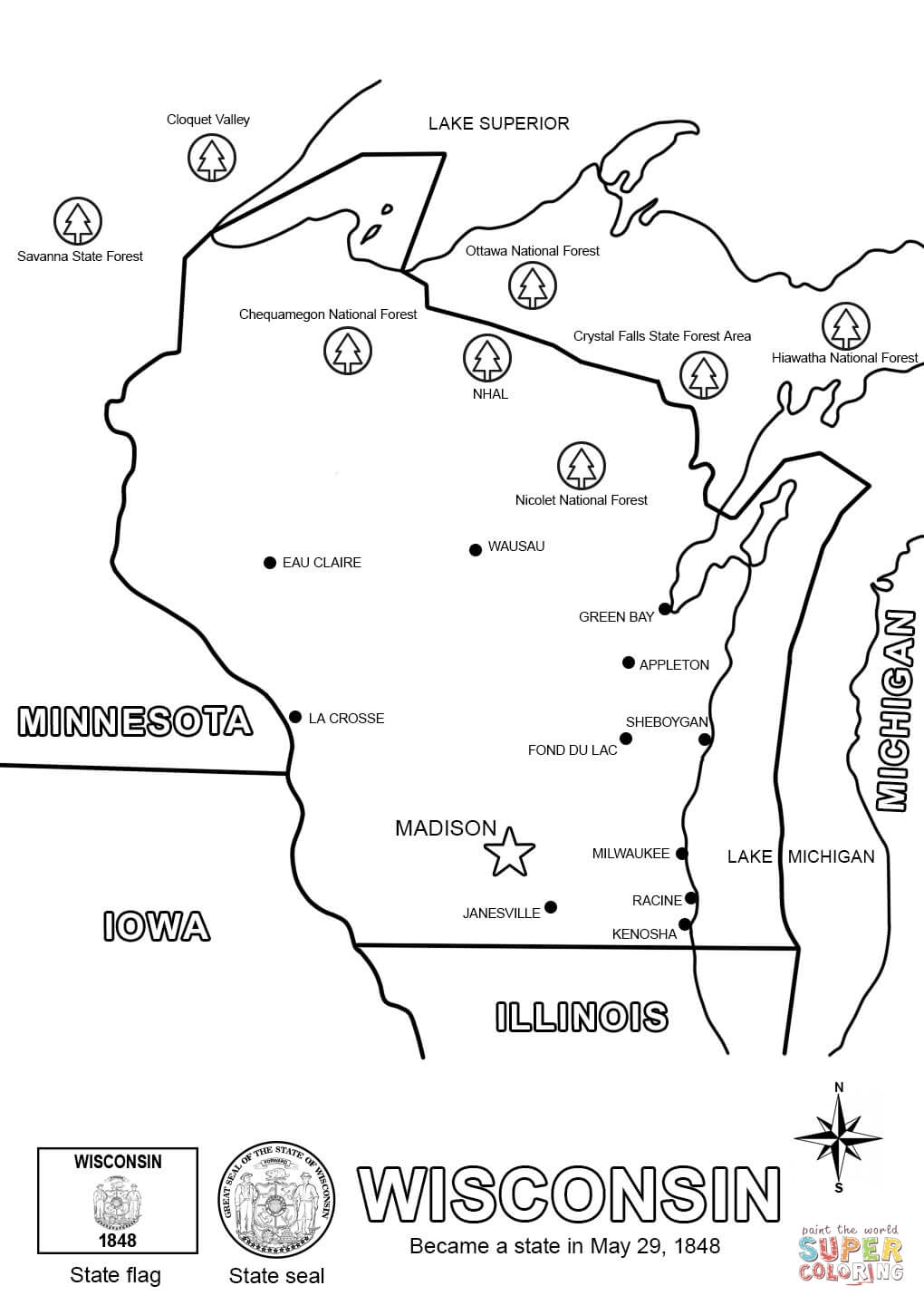 Wisconsin State Map Coloring Page