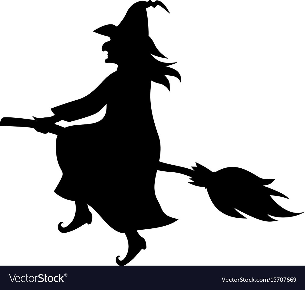 Witch On Broom Fly Silhouette Royalty Free Vector Image