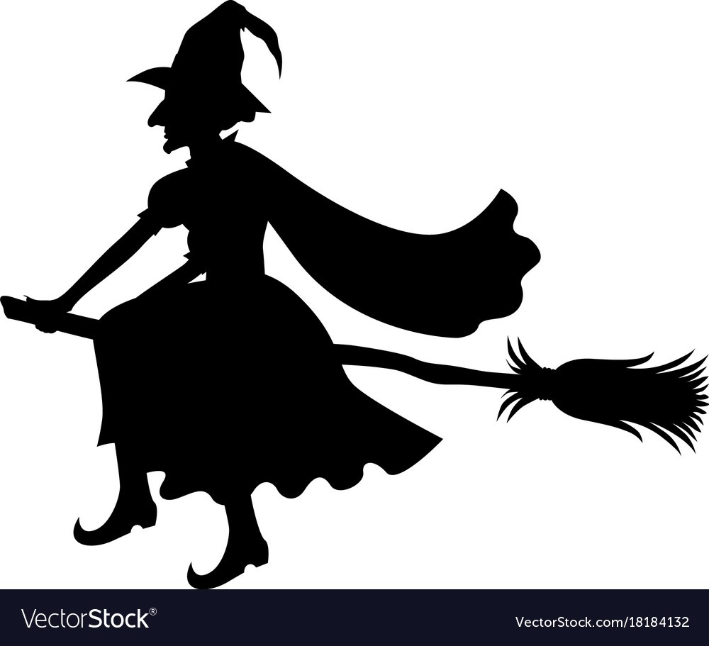 Witch On Broom Silhouette Royalty Free Vector Image